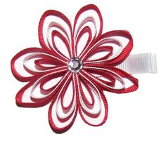 A Girl Company RedWhite Ribbon Flower Hair Clip for Girls ** Check out the image by visiting the link.(This is an Amazon affiliate link and I receive a commission for the sales)