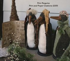 Primitive Folk Art Holiday Penguins and by primandproperfolks, $7.50