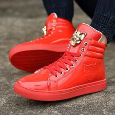 Fresh nd Clean Sneaker High-Top Gold Leopard Sneaker High, High Top Sneakers, Sneakers Nike, High Tops, Red Shoes, Types Of Shoes, Leather And Lace, New Fashion, Casual Shoes