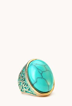Cocktail Hour Faux Turquoise Ring | FOREVER21 - 1000127293