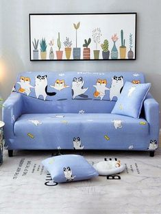 Furniture Protector Slipcover for 1 2 3 4 Cushions Sofa Covers Chair Loveseat US Slipcovers For Chairs, Cushions On Sofa, Pillows, Cat Couch, Cheap Sofas, Couch Covers, Sofa Sale, Home Decor Online, Cartoon Dog
