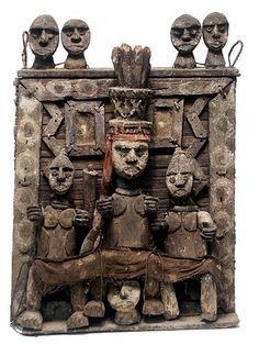 Africa |  Ijo Fetish panel, Nigeria. An assemblage of wood objects held together by iron and fiber. | A fetish is a statue or object with magical power, like an amulet, talisman or good luck charm.