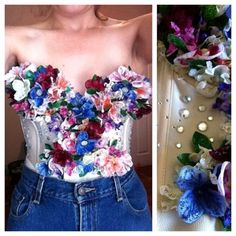 ALL DONE!!!!!!! Finally finished duplicating the Katy Perry flower bustier worn at the Victoria Secret Show a few years back. Fake flowers ($6) + bustier ($2) + glitter glue ($4) + gems (3) = $15 worth of supplies. I had so much fun making this! Can't wait for EDC this upcoming weekend. I made a matching flower crown, will post full outfit pic once I wear it.