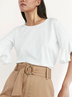 CONTRAST SHIRT WITH RUFFLE DETAIL at Massimo Dutti for $49.50