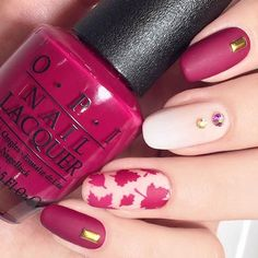 Beautiful fall manicure by the amazing @themermaidpolish using our Autumn Leaf nail Stencils found at snailvinyls.com