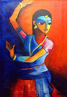 Dance Painting - Dancing Lady by Sheetal Bhonsle Indian Artwork, Indian Folk Art, Indian Art Paintings, Indian Contemporary Art, Modern Art, Folk Art Flowers, Dance Paintings, Madhubani Painting, India Art