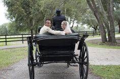 The Bride and her father heading to their wedding at The Grand Oaks Resort in one of the antique carriages from the carriage museum. #Wedding #Museum #Carriage #Antique #Bride #GrandOaksResort