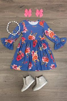 Dresses - Sparkle In Pink Kids Outfits Girls, Toddler Girl Outfits, Toddler Fashion, Kids Fashion, Cute Outfits, Baby Outfits, Bell Sleeve Dress, Bell Sleeves, Kids Pjs