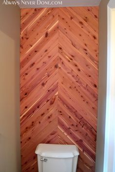 Cedar Planked Herringbone Accent Wall Cool Home Ideas In