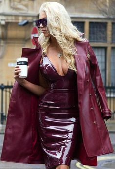 Gorgeous burgundy patent leather dress with leather trench coat street style fashion