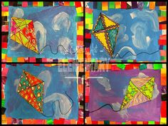 "Things That Fly - ""1st graders last projects of the school year were all about balance and symmetry. We started off by talking about the asymmetry of kites when it comes to the patterns and designs."""