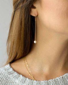 Etsy Pearl Chain Earrings, Long Dangle Earrings for Women, Dainty Earrings, Gift for Her, Bridal Earrings #ad #earrings #etsyfinds #etsygifts #giftideas #womensfashion #accessorize