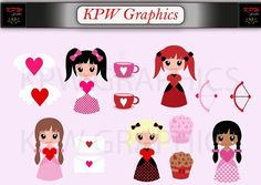 Valentine Girls with Hearts Clip-art Set in a PNG format. Personal & Small Commercial use