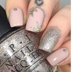 I love this nude/silver combo by the lovely @memyselfandmynails! - Firework Nail Vinyls snailvinyls.com