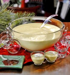 Spiked Eggnog Punch-every party had a punch bowl of the nog, always spiked.  Now store-bought with freshly grated nutmeg on top,  it still screams holiday.