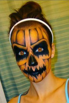 Maquillaje de Calabaza. Encuentra  otras opciones para #Halloween en... http://www.1001consejos.com/maquillaje-para-halloween/