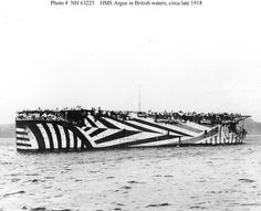Dazzle camouflage, also known as razzle dazzle or dazzle painting, was a family of ship camouflage used extensively in World War I, and to a. World War One, First World, Op Art, Hms Furious, Dazzle Camouflage, Big Canvas, Aircraft Carrier, Ww2 Aircraft, Royal Navy