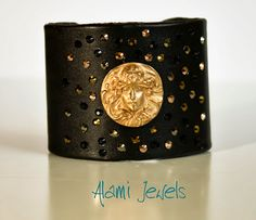 Alami Jewels - bracciale rigido in pelle nera, Goldie Bronze e Swarovski Crystals