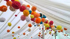 Wedding Buffet Ideas: Using pom-pom for wedding reception decorations Engagement Party Decorations, Ceremony Decorations, Marquee Decoration, Party Tent Decorations, Buffet Decorations, Paper Wedding Decorations, Marriage Decoration, Flowers Decoration, Hanging Decorations