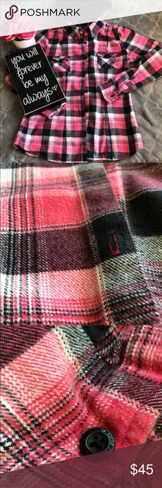 "Metal Mulisha plaid button down w/hood. Metal Mulisha plaid button down w/hood. Pink/black/white plaid. Sz L.  Fits more like a small Medium.  Armpit to armpit 18"" great detailing! Refer to pics!  Removable black hood. This was my closet favorite! Makes me sad to list it! ☺️☺️ you will not be disappointed with this item!  One thing about it I love is that is how it is fitted around the waist and shows off your figure! Excellent used condition Metal Mulisha Other"