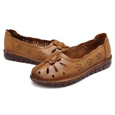 7971d1d735ff81 Big Size Women Comfy Breathable Genuine Leather Flower Hollow Flats is  cheap and comfortable. There are other cheap women flats and loafers online  Mobile.