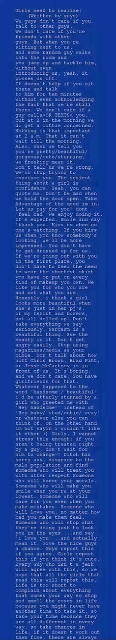 Every girl should read this. It's beautiful. Also, just saying, I repinned this before the repost thing - I hate things that are like you MUST repost this.
