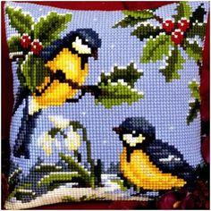 Cross Stitch Cushion, Cross Stitch Bird, Cross Stitch Animals, Cross Stitch Flowers, Cross Stitch Designs, Cross Stitching, Cross Stitch Embroidery, Cross Stitch Patterns, Cross Stitch Landscape