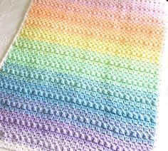 Rainbow crochet baby blanket pattern