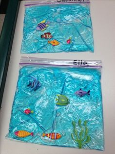 Under the sea pocket aquarium Ziplock bag with blue hair gel and fish stickers Under The Sea Crafts, Under The Sea Theme, Sea Activities, Toddler Activities, Rainbow Fish Activities, Rainbow Fish Eyfs, The Rainbow Fish, Preschool Crafts, Crafts For Kids