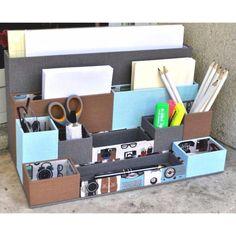 Le bloc de modules, fiche technique de cartonnage Desk Caddy, Pot A Crayon, 3d Paper Crafts, Module, 3d Projects, New Hobbies, Diy Tutorial, Stampin Up, Packaging