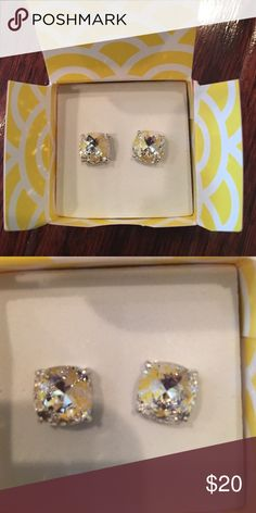 Origami Owl earings. New in box The Clara! They are clear diamond colored Jewelry Earrings