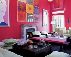 Love this, crazy about the pink walls and art....