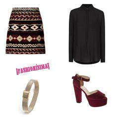 Falda mini jacquard, de Zara (29,95 euros); blusa holgada de gasa negra, de Mango (29,99 euros)