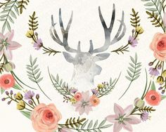 Watercolor floral wreath flowers peony antlers by GrafikBoutique