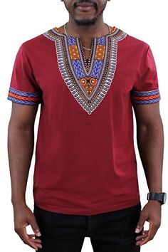 Our African Dashiki Print T-shirt is great for an everyday look. Whether you are looking to go casual, elegant or just basic. It has a soft feel, with dashiki prints around the neck and the arms. It comes in multiple colors and made for both men and women.  Season: Spring, summer, autumn