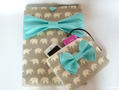 """Macbook Pro 13 Sleeve MAC Macbook 13"""" inch Laptop Computer Case Cover and Accessory Pouch in Grey Elephant with Aqua Bow"""