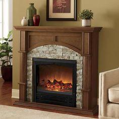 Faux brick electric fireplace Brick Fireplace Decor, Fireplace Lighting, Fireplace Mantle, Fireplace Design, Fireplace Ideas, Wood Mantle, Fireplace Screens, Stone Electric Fireplace, Faux Stone Fireplaces
