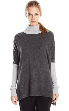 Minnie Rose Women's Color Blocked Audrey, Charcoal Heather/Light Heather Grey, X-Small/Small ❤ Minnie Rose Women's Collection