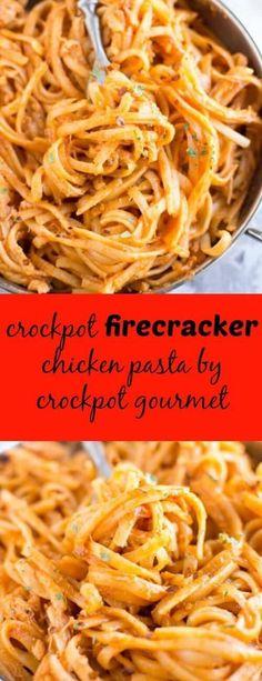 Slow Cooker Firecracker Chicken Pasta. Add in veggies like broccoli and sub 2% milk in place of heavy cream
