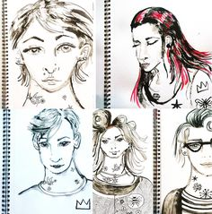 Inked portraits by Lizzie Reakes