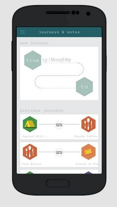 Journeys and Notes para Android, otra aplicación de Microsoft.  Una aplicación social con checkins de partida y llegada de viajes, con notas y sugerencias de los usuarios sobre el viaje.