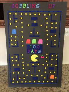 100 Days of School, Pac-man 100 Day Project Ideas, 100 Day Of School Project, School Projects, Projects For Kids, School Ideas, 100 Days Of School Project Kindergartens, 100th Day Of School Crafts, 100s Day, 100 Day Celebration