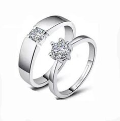 4c58b3b05749 Adjustable Couple Rings Heart Engagement Rings