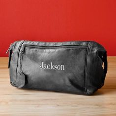 Embroidered Black Leather Travel Bag for Frequent Flying Groomsmen