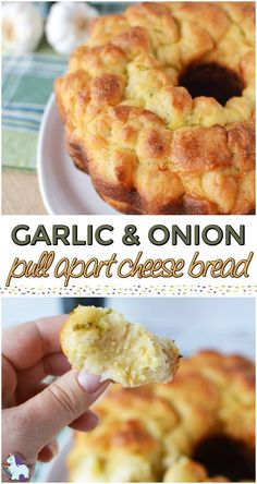 Garlic and Onion Pull Apart Cheese Bread Recipe #appetizer #recipe #cheesybread #holidays #partyfood
