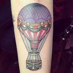 vintage-style hot air balloon tattoo
