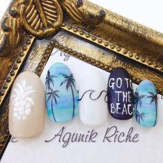 夏が恋しすぎる♡ 早く綺麗な海に行きたい! #agunikriche #nail #nailart #gel #gelnail #nailsalon #nails #summer #summernail #surf #sea #palmtree #gotothebeach #アグニークリッシェ #渋谷ネイルサロン #ネ