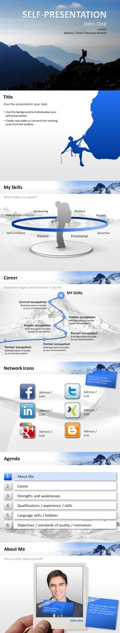 """#Self-presentation #template in the #design """"Mountaineer"""". Create your individual self-presentation with Microsoft #PowerPoint."""