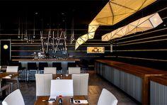 sushi restaurant lighting | Sushi Restaurant with Origami Lights black ceiling restorant decor