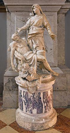 Pietà, by Antonio Corradini, Chiesa di San Mosè, Venezia. Baroque Sculpture, Modern Sculpture, Camille Claudel, Human Sculpture, Sculpture Art, Rococo, Naples, La Pieta, Traditional Sculptures